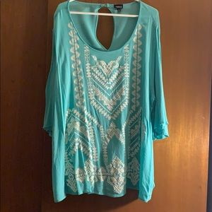 Torrid Aqua Cold Shoulder Boho Top